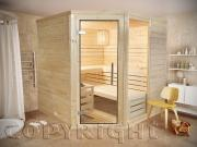 Sauna 220 cm 5-Eck Espoo Massivholz 45 mm Eckeinstieg Harvia Saunaofen