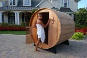 Barrel Fasssauna CLEAR Red Cedar 8 FT Gartensauna Saunaofen Aussensauna